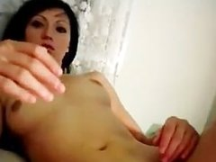 Brunette Girl Goes Solo With A Red Dildo