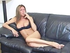 Tits are exposed as jerk off teacher smokes