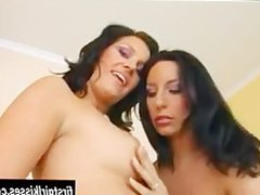 Super hot lesbians playing with a huge dildo