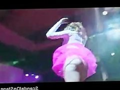 Big tits stripper on the stage masturbating and teasing