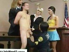 Cfnm femdom babes get naughty