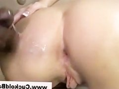 Cuckold licks up cumshot off babes tight ass