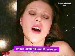 Bukkake loving slut fuck and cum facials