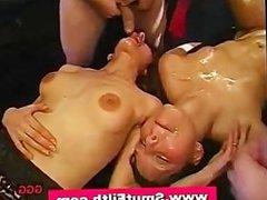 Bukkake loving cum sluts drenched in cum