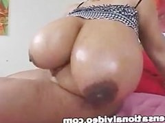 Huge Tit Black BBW Oils Up Her Boobs and Pussy
