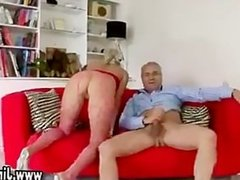Teen in stockings and boots gets fucked