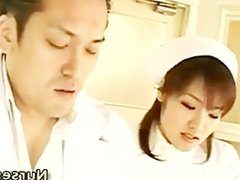 Teasing asian nurse