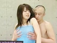 Bukkake loving asian finger fucked