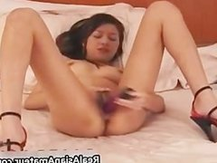 Super hot asian babe drilling her hairy part1