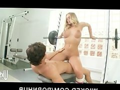 Big Tit & Ass blonde Pornstar Nicole Aniston fucks trainer in gym