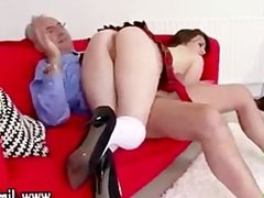 Older guy spanks naughty schoolgirl
