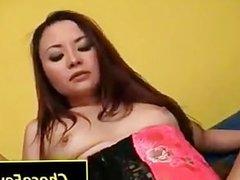 Brunette fucks a big black penis