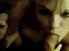 Arden Adamz blows two cocks for a facial