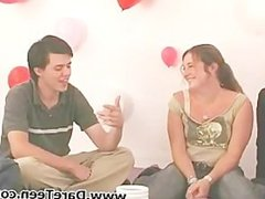 Cute teens play truth or dare