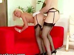 Mature stocking lesbian strapon fucking