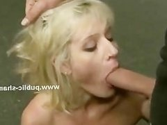 Blondie slut gets her boobs out of the clothes in public on the s