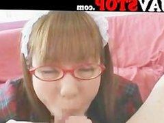Japanese girl blowjob facial on glasses