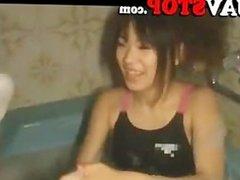 Hot Japanese AV girl handjob and titjob