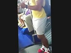 Bulge in Tight White Shorts on Public Bus