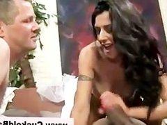 Naughty cuckold slut gets interracial