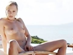 absolutly hot blonde posing her pussy