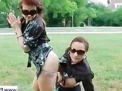 Lesbians getting wild in public