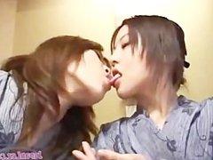 Asian Lesbians Spit and Suck Salvia