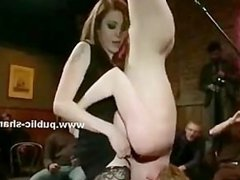 Blonde bound and made to fuck brutaly tied upside down and humi