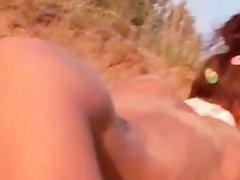 sexy teen masturbate on the hot beach
