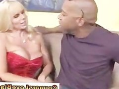 Cougar in lingerie gets interracial
