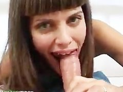 latina with bigtits sucks and strokes cock til it cums on her fac