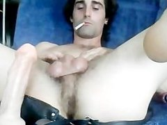 Gay guy using a dildo