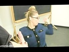 Student getting a lesson from his teacher and spreads her tonsils