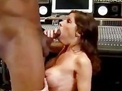 Sound tech gets blown by hot mom in studio.
