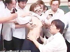 Gangbang Japanese hottie gets punished
