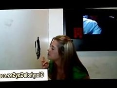 Straight guy gets blowjob through glory hole