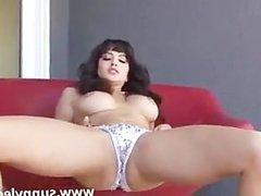 Hot busty brunette having fun