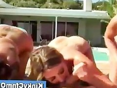 Hot cfnm blonde gets a cumshot after being fucked