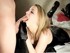 Blonde Teen In Stockings Sucks and Swallows
