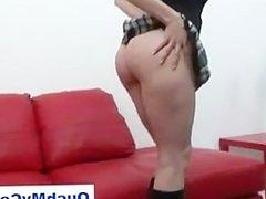 Angry british girl gives guy a harsh handjob