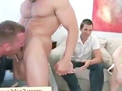 Muscled gay stripper getting sucked by group part5