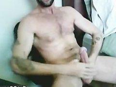 Tattooed Hairy Hunk Masturbating part5