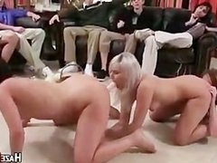 Hazed Lesbians Put On A Group Sex Show