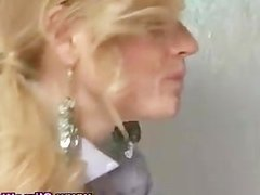 Bukkake facial blonde sucks dick