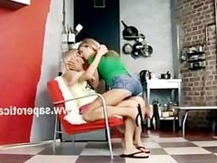 Blonde lesbian beautie waitting unpatiently for her slender lover