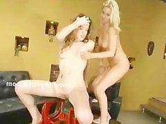 Pair of teen babes enjoying large fucking machines in lesbian sex