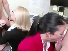 Office skanks sucking cock in their cubical