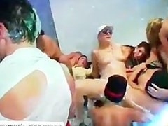Group sex happens on the foam party