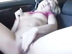 blonde masturbates in carwash
