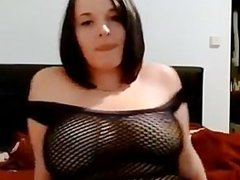 Cute girl shows her big tits and hot body